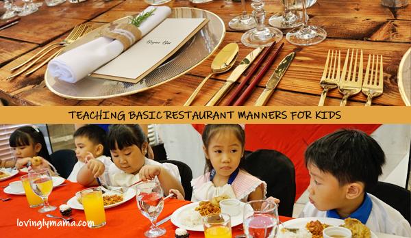 restaurant manners for kids - basic restaurant manners for kids- teaching kids - fine dining for kids - homeschooling in bacolod - fine dining setup - Bright Kids Preschool
